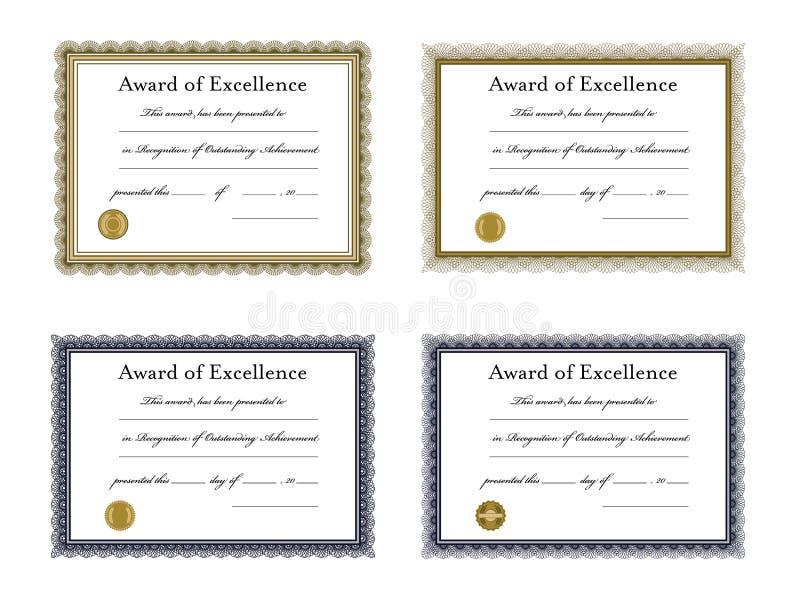 Vektorsymbolsuppsättning av utbildningscertifikatmallar stock illustrationer
