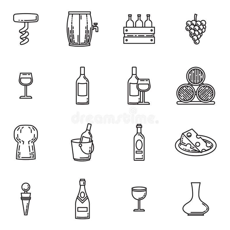 Vektorsymbolsuppsättning av vin stock illustrationer