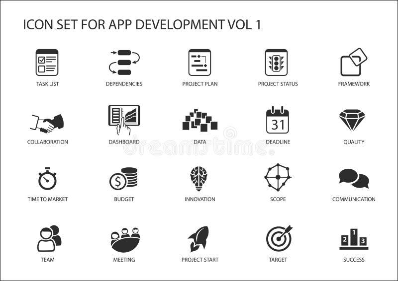 Vektorsymbolsuppsättning för app-/applikationutveckling Återvinningsbara symboler och symboler royaltyfri illustrationer