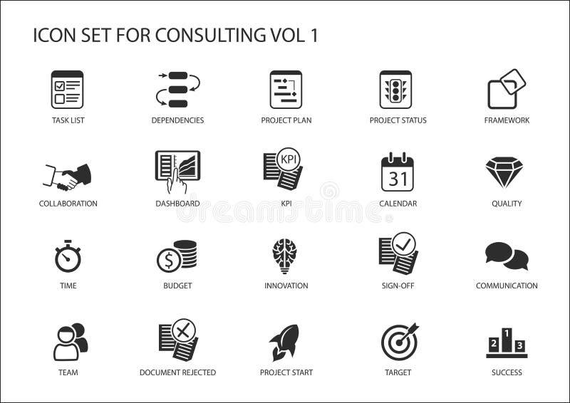 Vektorsymbolsuppsättning för att konsultera för ämne Olika symboler för att konsultera för strategi, IT som konsulterar, konsulte royaltyfri illustrationer