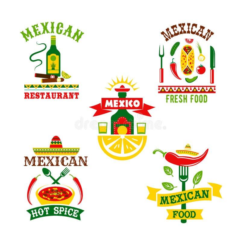 Vektorsymbolsuppsättning för mexikansk restaurang royaltyfri illustrationer