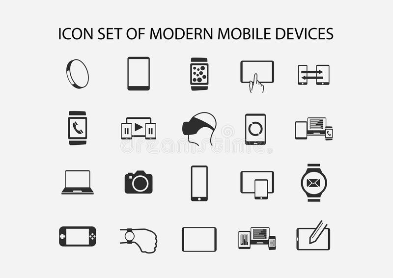 Vektorsymbolsuppsättning för moderna mobila enheter stock illustrationer