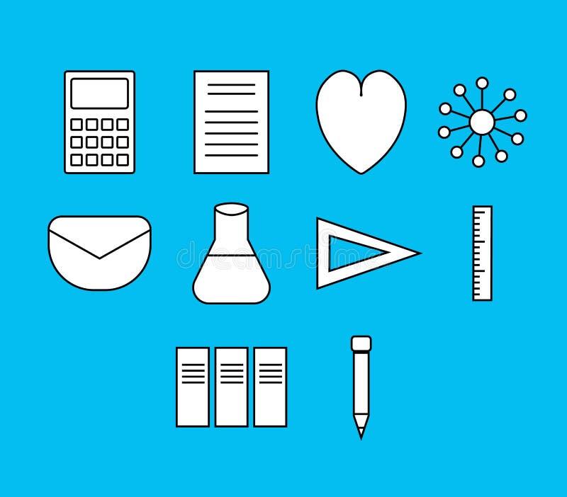 Vektorsymbolsuppsättning för vetenskapsexperiment royaltyfri illustrationer