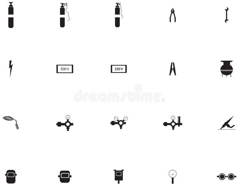 Vektorsymbolsuppsättning för welder royaltyfri illustrationer