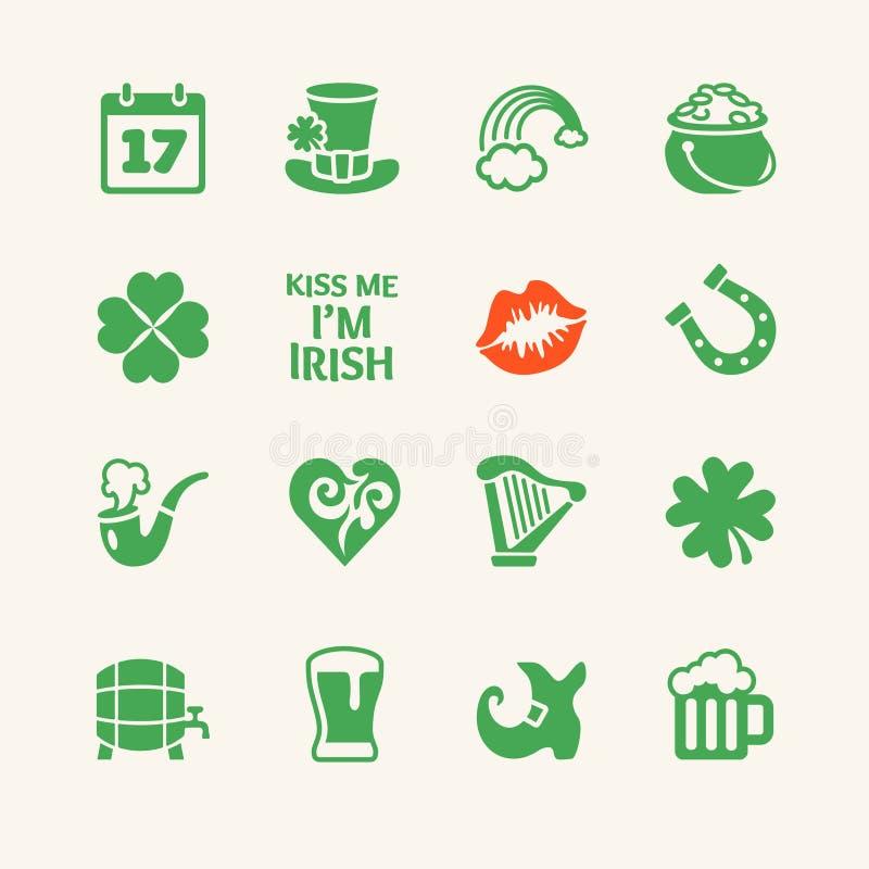 Vektorsymbolsuppsättning - Sts Patrick dag royaltyfri illustrationer