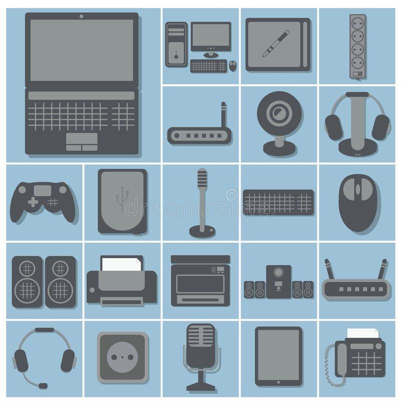 Vektorsymbolsuppsättningen av datorgrejer och apparater 22 kvadrerar colle royaltyfri illustrationer