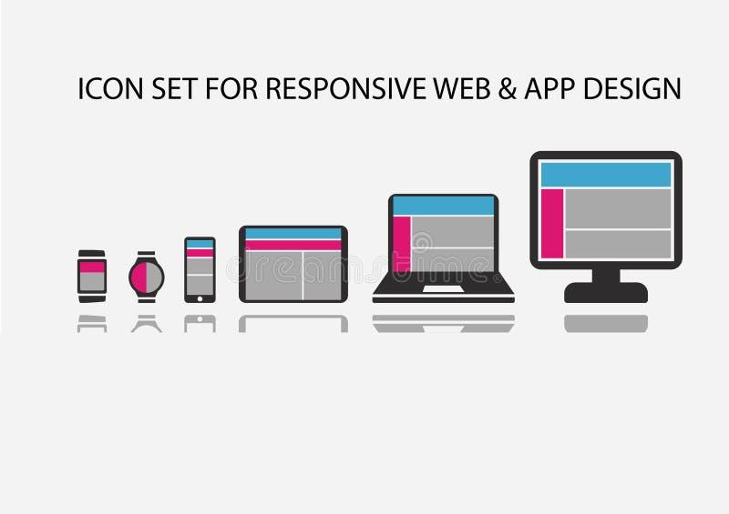 Vektorsymbolsuppsättningen för svars- app-utveckling och rengöringsdukutveckling på mobila enheter liksom den smarta telefonen, i royaltyfri illustrationer