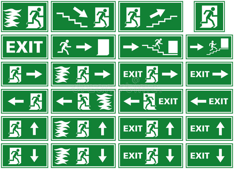 Vektorsymboluppsättning - tecken för nöd- utgång - platta för brandlarm - flyende flammor för person till och med dörr stock illustrationer