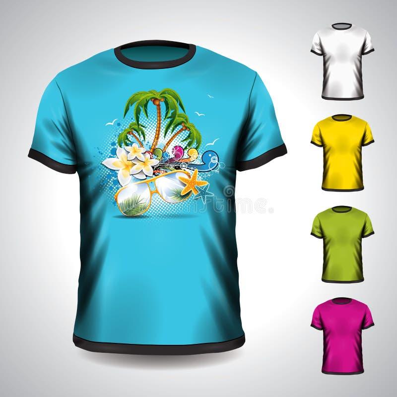 Vektort-shirt stellte auf ein Sommerferienthema ein lizenzfreie abbildung
