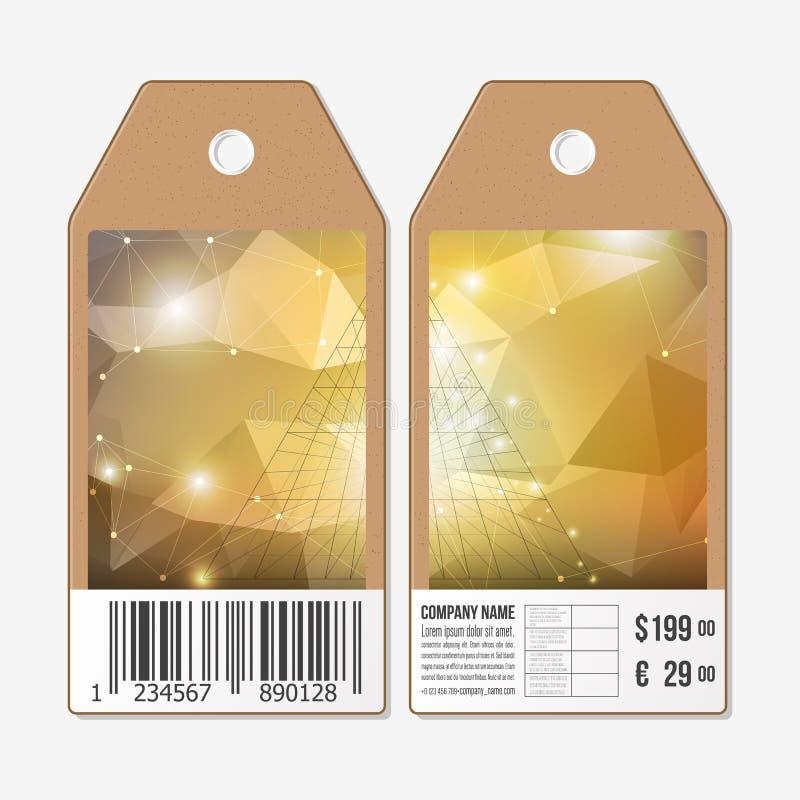 Vektortags entwerfen auf beiden Seiten, Pappverkaufsaufkleber mit Barcode Abstrakte 3D Pyramide, geometrisches buntes Dreieck vektor abbildung