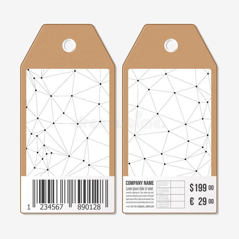 Vektortags entwerfen auf beiden Seiten, Pappverkaufsaufkleber mit Barcode Molekülstruktur, Verbindungsvektor, Wissenschaft lizenzfreie abbildung