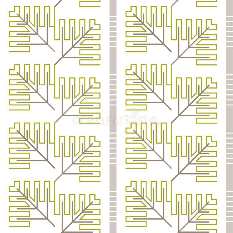 Vektortapet med trädfilialer royaltyfri illustrationer