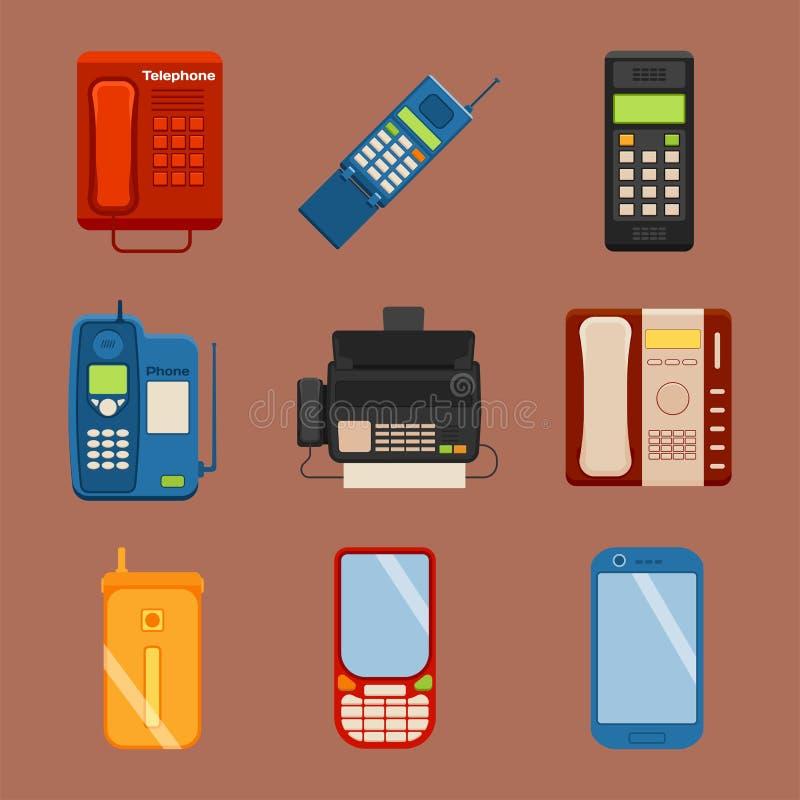 Vektortappning ringer retro teknologi för apparaten för anslutning för lodtelefonsamtalnumret den telephonic illustrationen vektor illustrationer