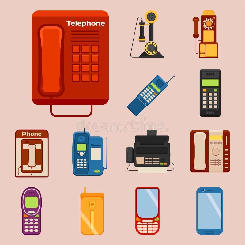 Vektortappning ringer retro teknologi för apparaten för anslutning för lodtelefonsamtalnumret den telephonic illustrationen royaltyfri illustrationer