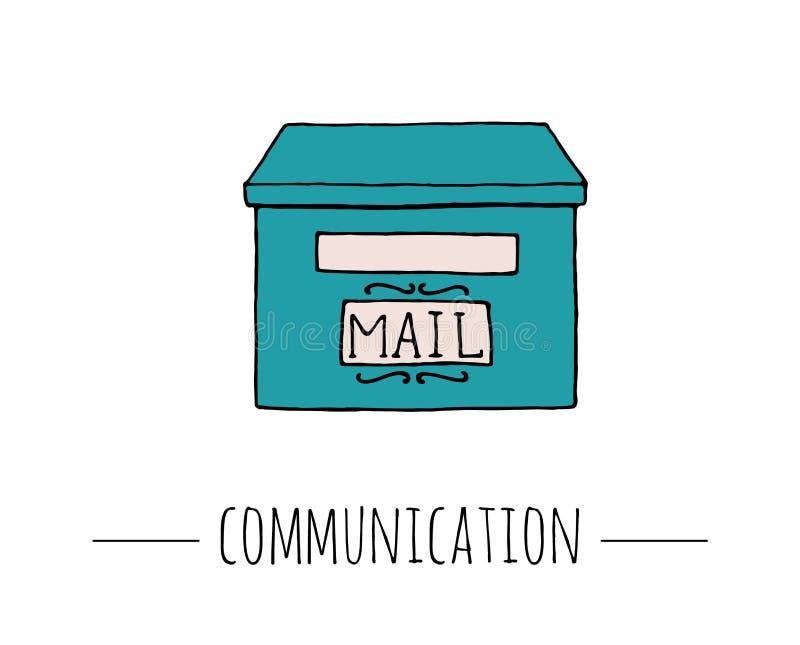 Vektortappningbrevlåda Retro illustration av stolpeasken för bokstäver stock illustrationer