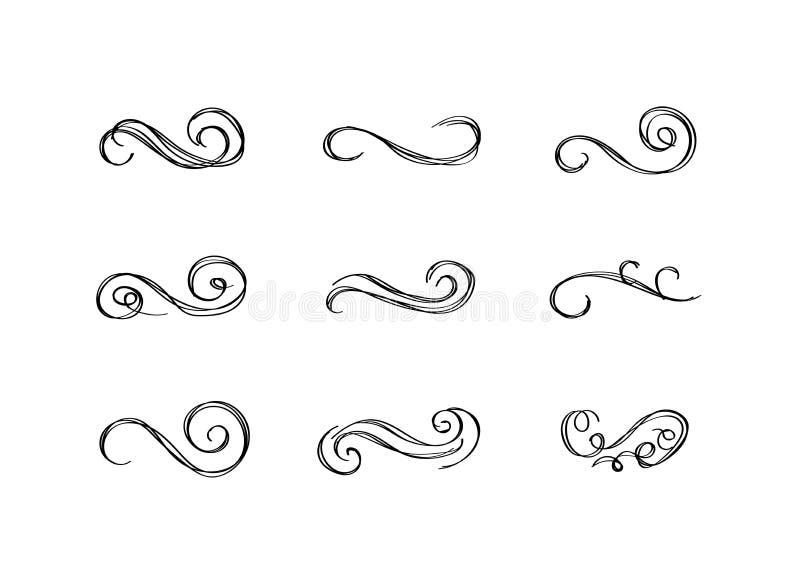 Vektortappninghanden som den utdragna filigranen virvlar runt isolerade svarta teckningar, ställde in stock illustrationer