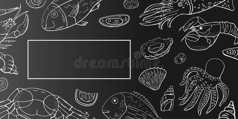 Vektortappninghorisontalmeny med skaldjur- och fisköversikten på svart bakgrund Utdragen havs- kafémeny för hand vektor illustrationer
