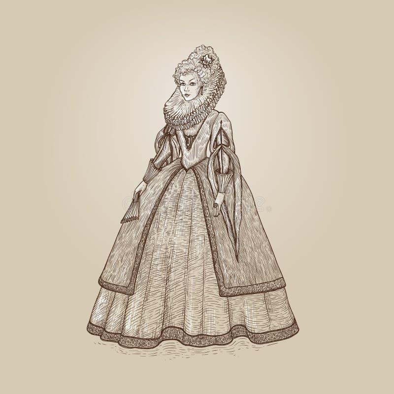 Vektortappningillustration Århundrade för elisabetansk epok för fin och förnäm dam 16th Medeltida dam i en rik klänning med den s vektor illustrationer