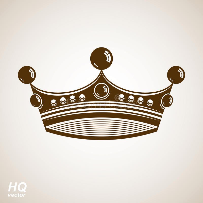 Vektortappningkrona, lyxig utsmyckad kronaillustration stock illustrationer