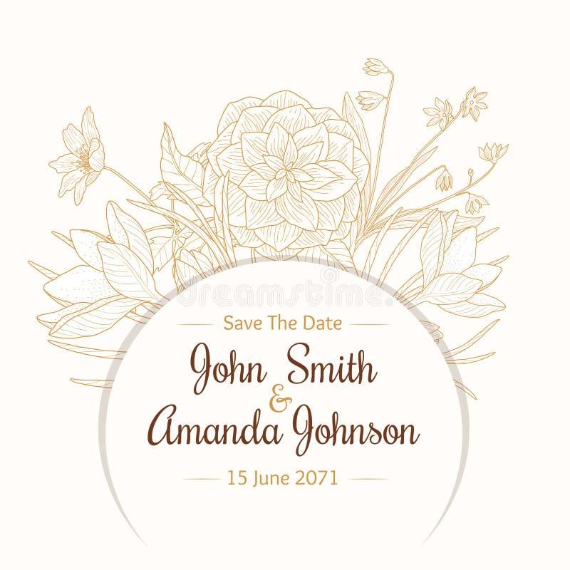 Vektortappningljus - kort för inbjudan för bröllop för teckning för brun beige gränsram blom- med stilfulla blommor och text in royaltyfri illustrationer
