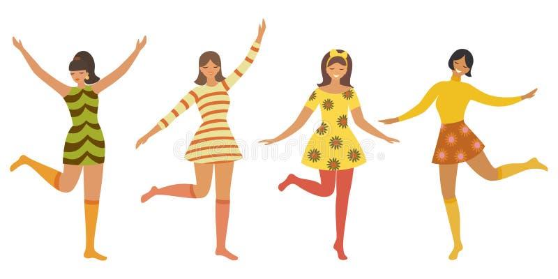 Vektortappningmall med gulliga dansa flickor i retro stil Kan användas för baner, affisch, kort, vykort och tryckbart royaltyfri illustrationer