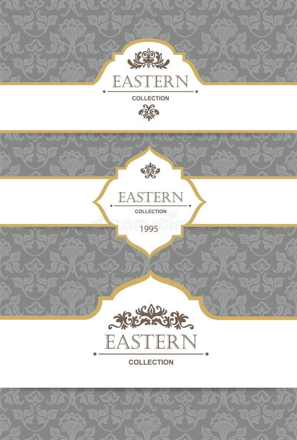 Vektortappningsamling: Barock- och antikvitetramar, etiketter, emblem och dekorativa designbeståndsdelar royaltyfri illustrationer