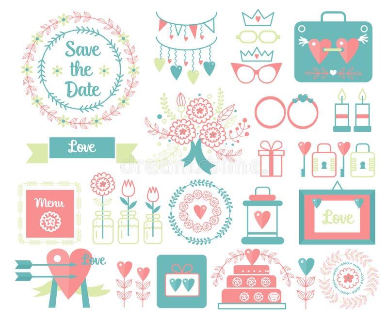 Vektortappninguppsättning av dekorativa gulliga bröllopbeståndsdelar och hand drog symbolsillustrationer Blom- klotter, sidor vektor illustrationer