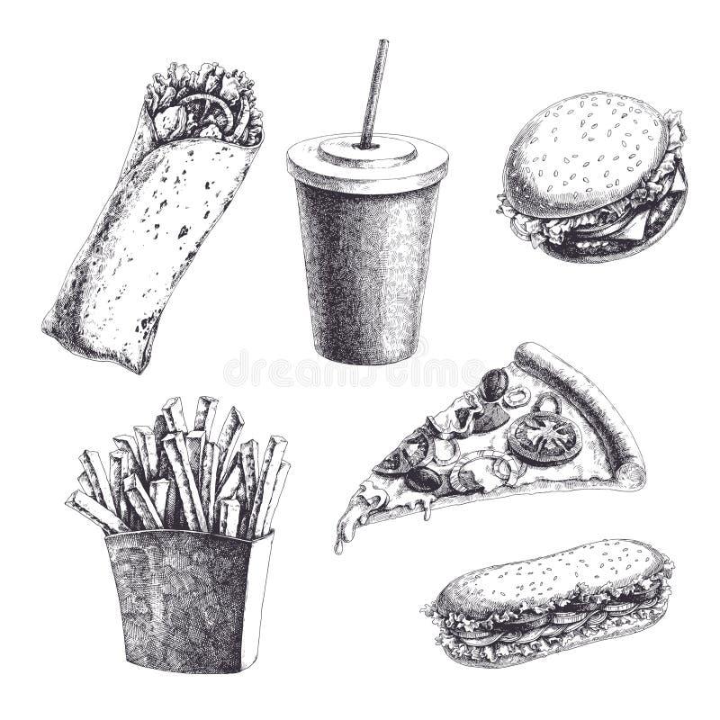 Vektortappninguppsättning med inristade snabbmatillustrationer Hand D royaltyfri illustrationer