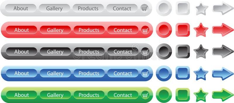 Vektortasten stellten Schablonen für Web ein lizenzfreie abbildung