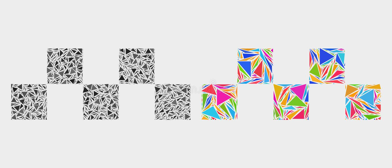 Vektortaxischack Logo Mosaic Icon av trianglar vektor illustrationer