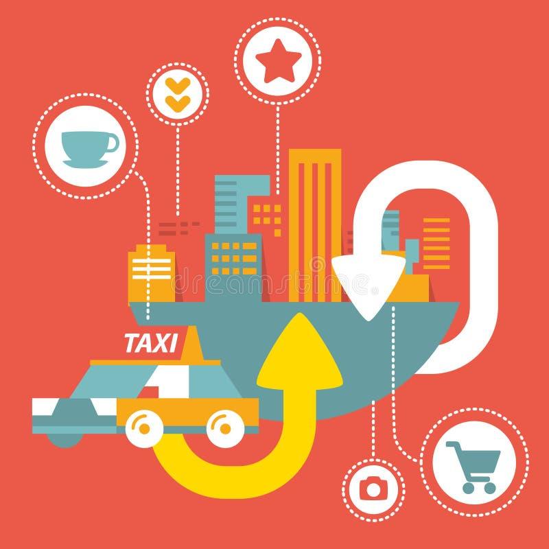Vektortaxiservice i storstaden med symboler stock illustrationer