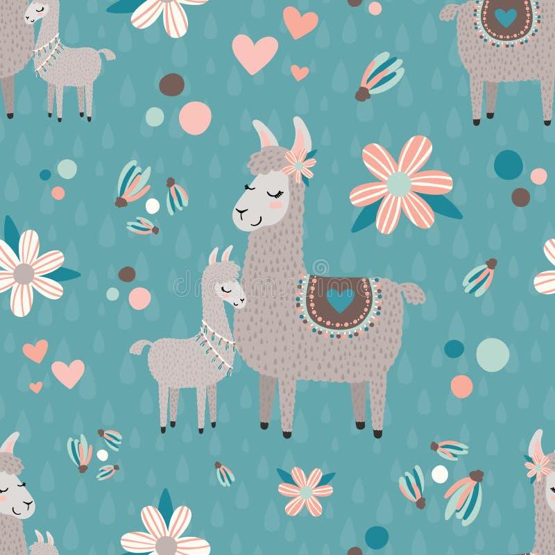 VektorTeal Mama Llama Seamless Pattern bakgrund vektor illustrationer