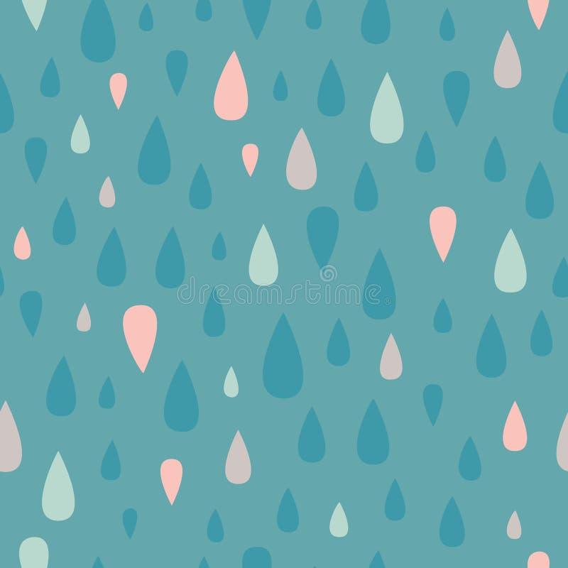 VektorTeal Teardrop Raindrop Seamless Pattern bakgrund stock illustrationer