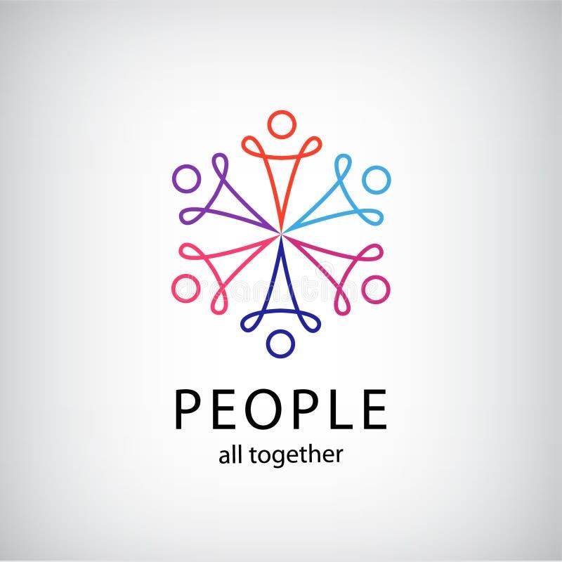 Vektorteamwork, samkväm förtjänar, symbolen för folk tillsammans vektor illustrationer