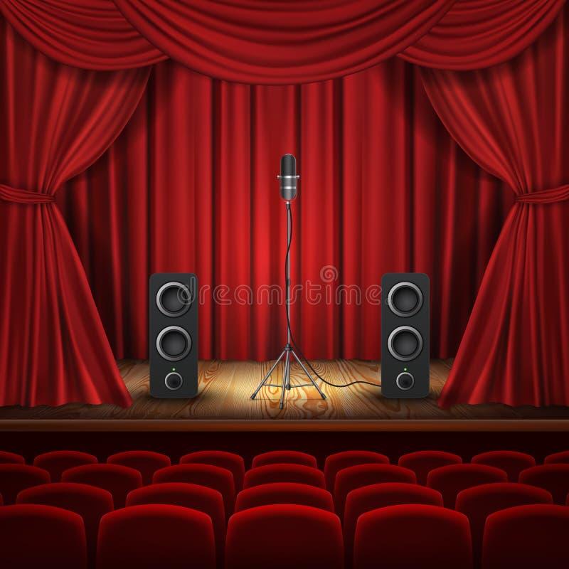 Vektorteaterkorridor, etapp med mikrofonen, högtalare royaltyfri illustrationer