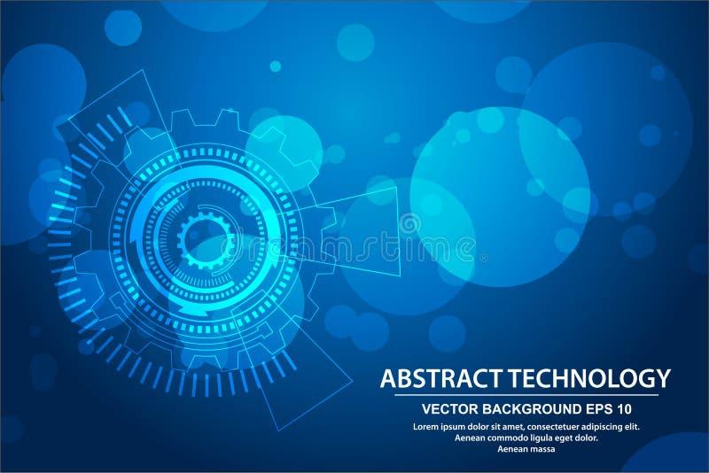 Vektortechnologiekreis und Technologiehintergrund, High-Teches Kommunikationskonzept des abstrakten Technologiehintergrundes lizenzfreie abbildung