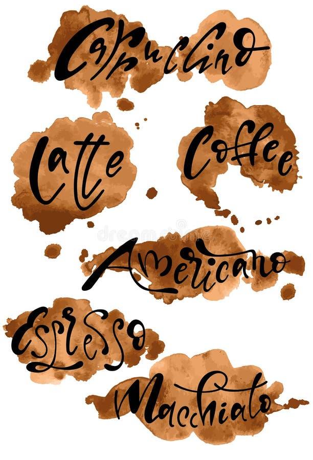 Vektortecken av olika typer av kaffe på kaffefärgstänk stock illustrationer