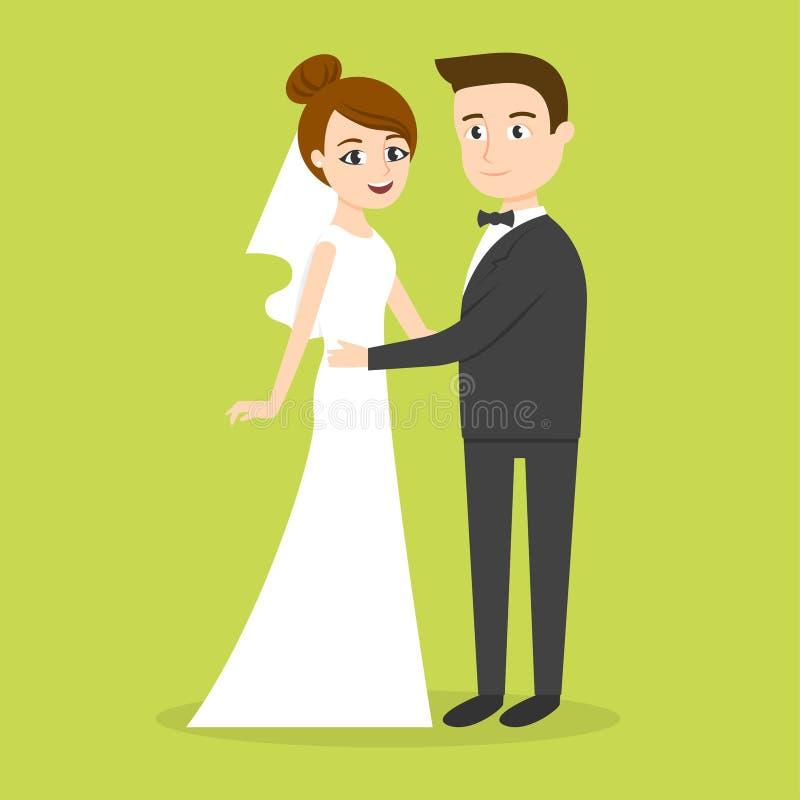 Vektortecken: precis gift parman och kvinna _ stock illustrationer