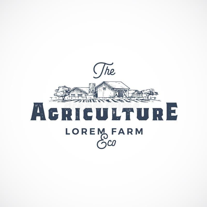 Vektortecken, symbol eller Logo Template för åkerbruk lantgård abstrakt Lantgårdlandskapteckningen skissar med Retro typografi royaltyfri illustrationer