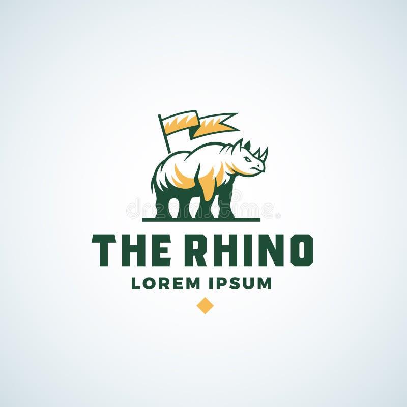 Vektortecken, symbol eller Logo Template för noshörning abstrakt Noshörningkontur med en flaggasymbol och typografi isolerat vektor illustrationer