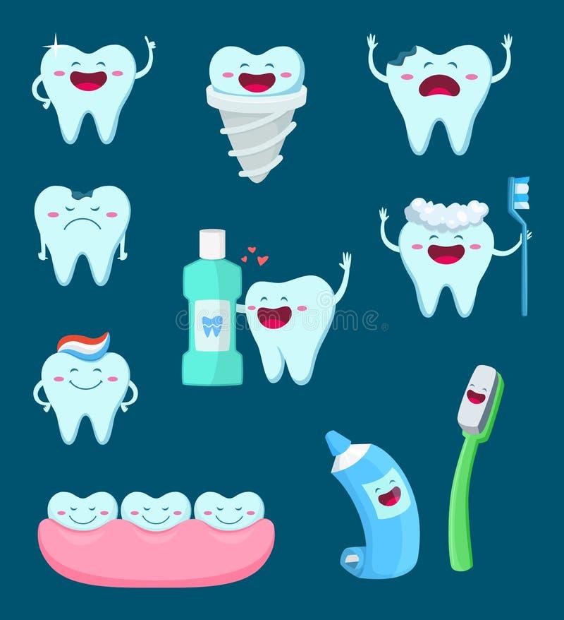 Vektorteckenuppsättning av roliga tänder och tandborsten Tecknad filmmaskotillustrationer royaltyfri illustrationer