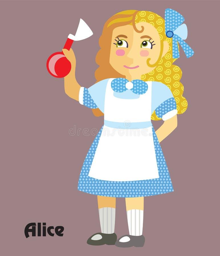 Vektortecknad film Alice vektor illustrationer