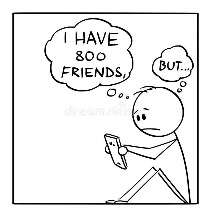 Vektortecknad film av den ensamma mannen med många vänner på sociala nätverk men utan verkliga vänner vektor illustrationer