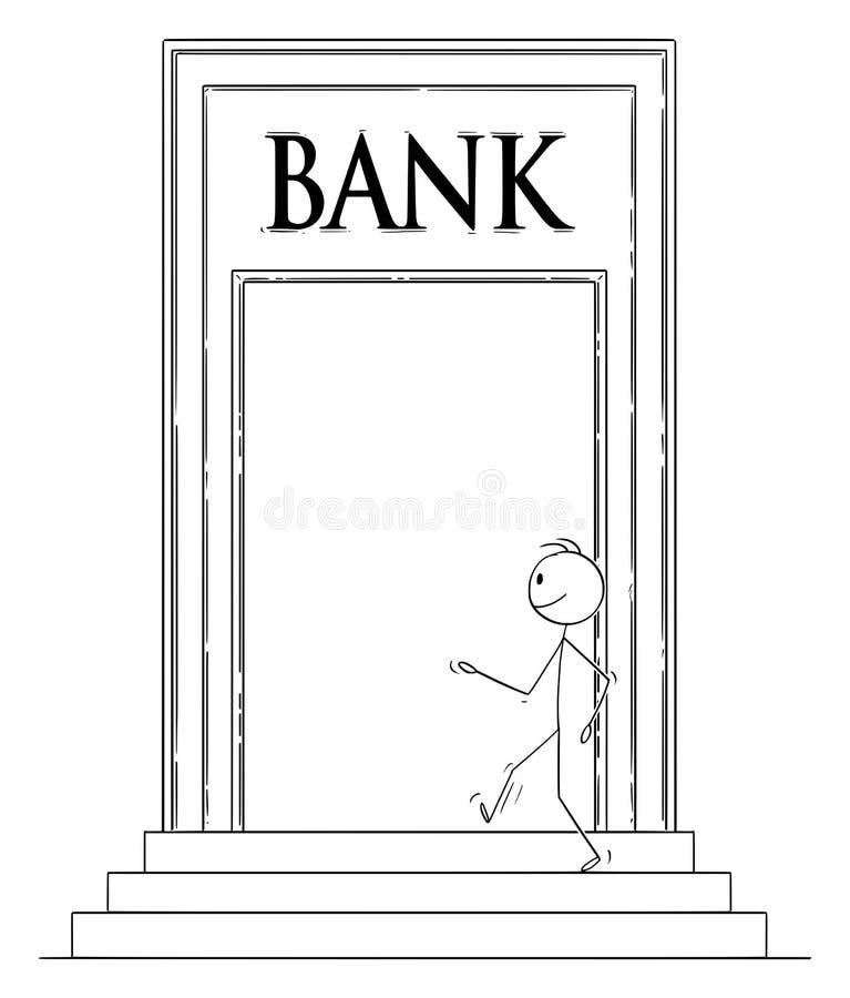 Vektortecknad film av den säkra man- eller affärsmanWalking Through Big dörren och skrivande in bankbyggnad royaltyfri illustrationer