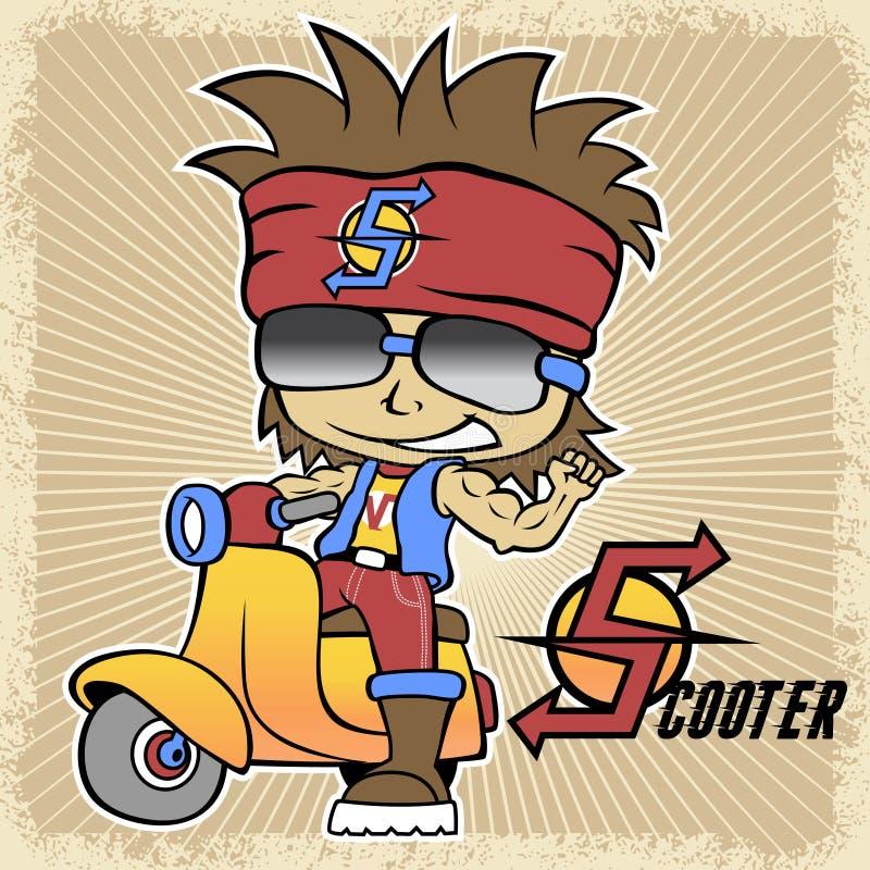 Vektortecknad film av den unga pojken på sparkcykeln stock illustrationer