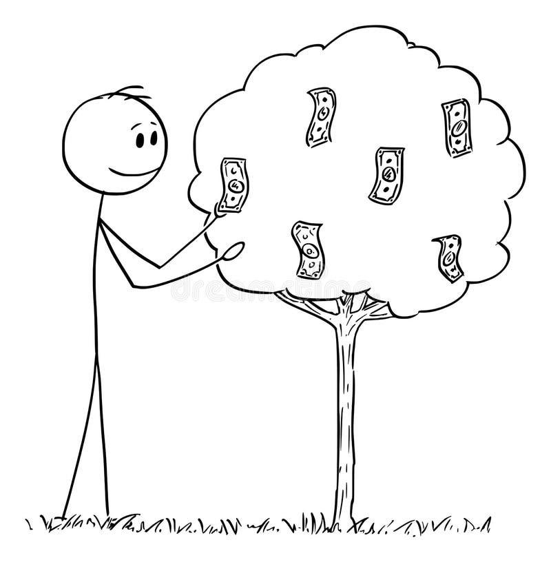 Vektortecknad film av mannen eller affärsman Picking Dollar Bills eller sedlar eller pengar som växer på träd som frukt royaltyfri illustrationer