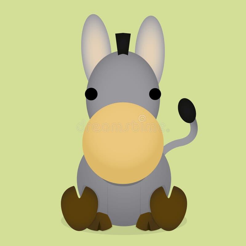 Vektortecknad film gulliga Gray Donkey Sitting Isolated stock illustrationer