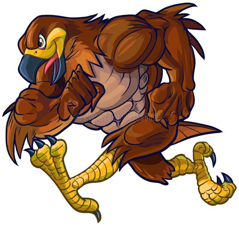 Vektortecknad film Hawk Eagle eller falkmaskotspring stock illustrationer