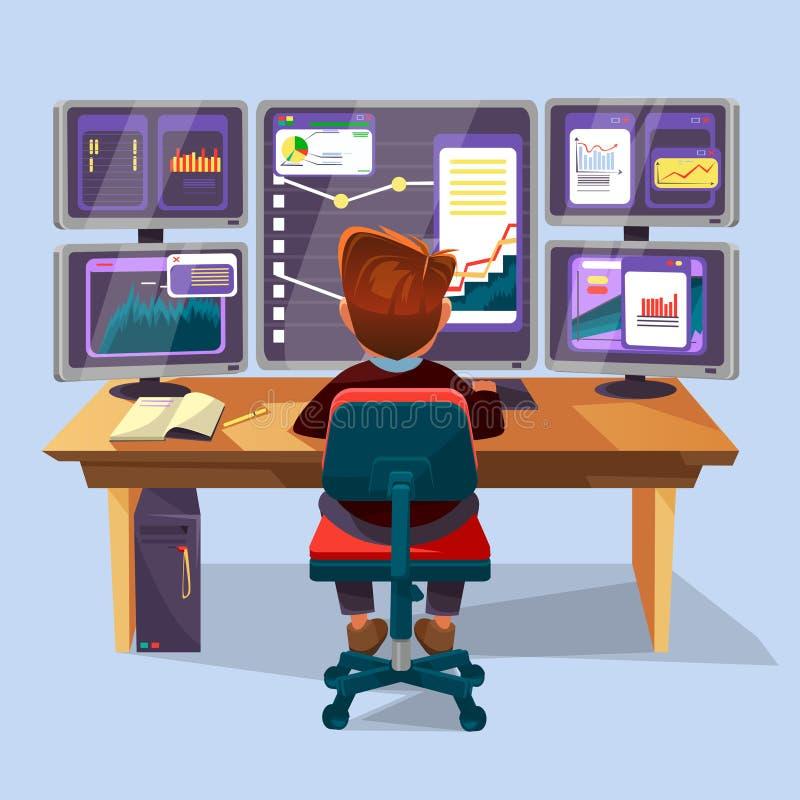 Vektortecknad filmaffärsman, arbetsplats för finansiell analytiker stock illustrationer