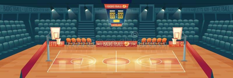 Vektortecknad filmbakgrund av den tomma basketdomstolen vektor illustrationer